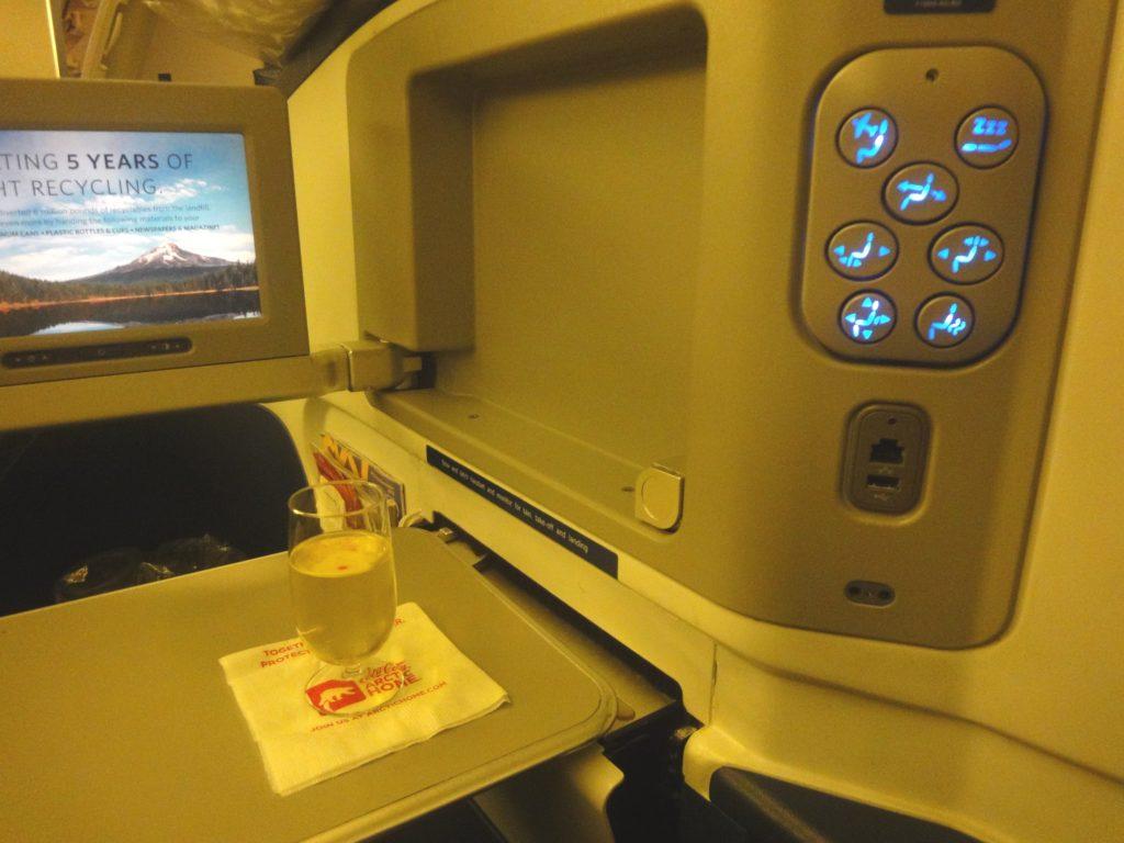 デルタ航空 ビジネスクラスのシート