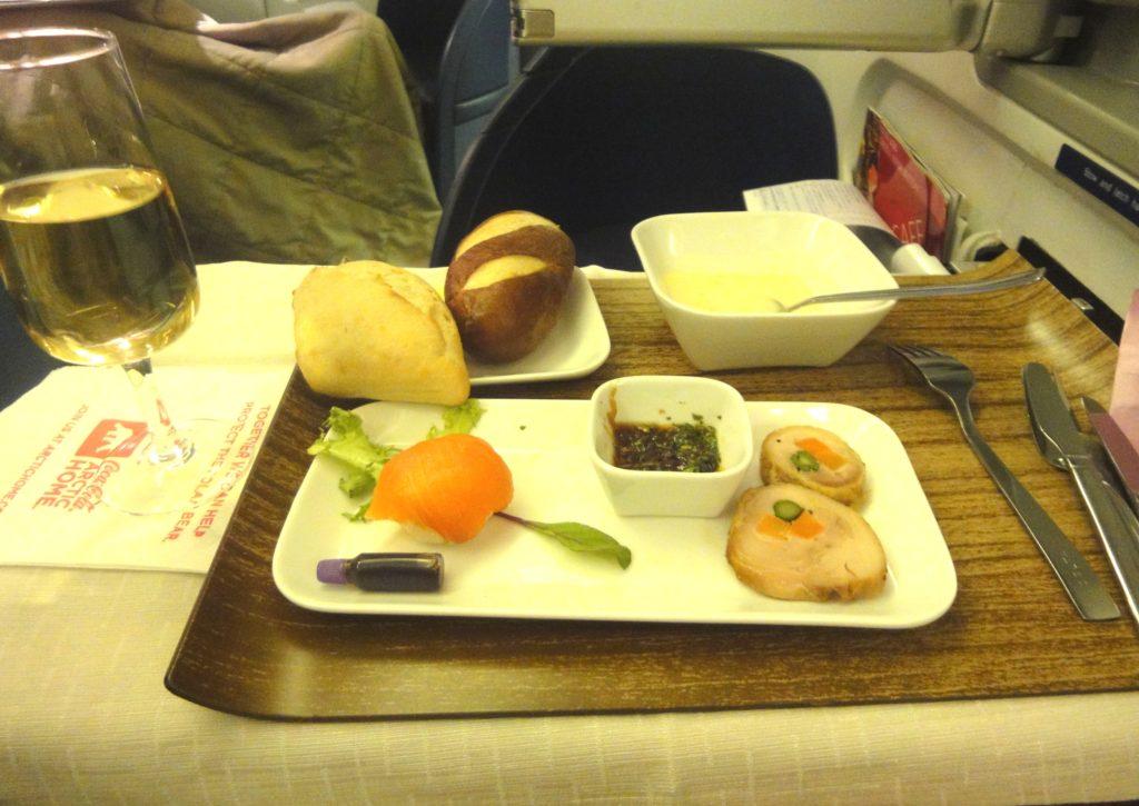 デルタ航空 ビジネスクラスの前菜