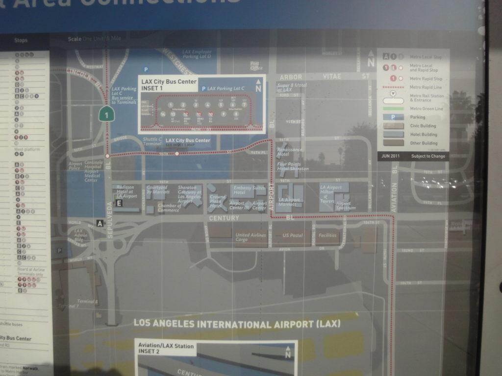 ロサンゼルス空港 City Bus Centerの案内看板