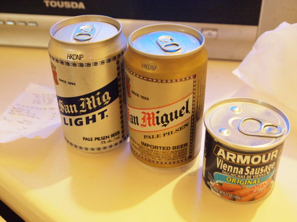 ビールとウィンナーの缶詰