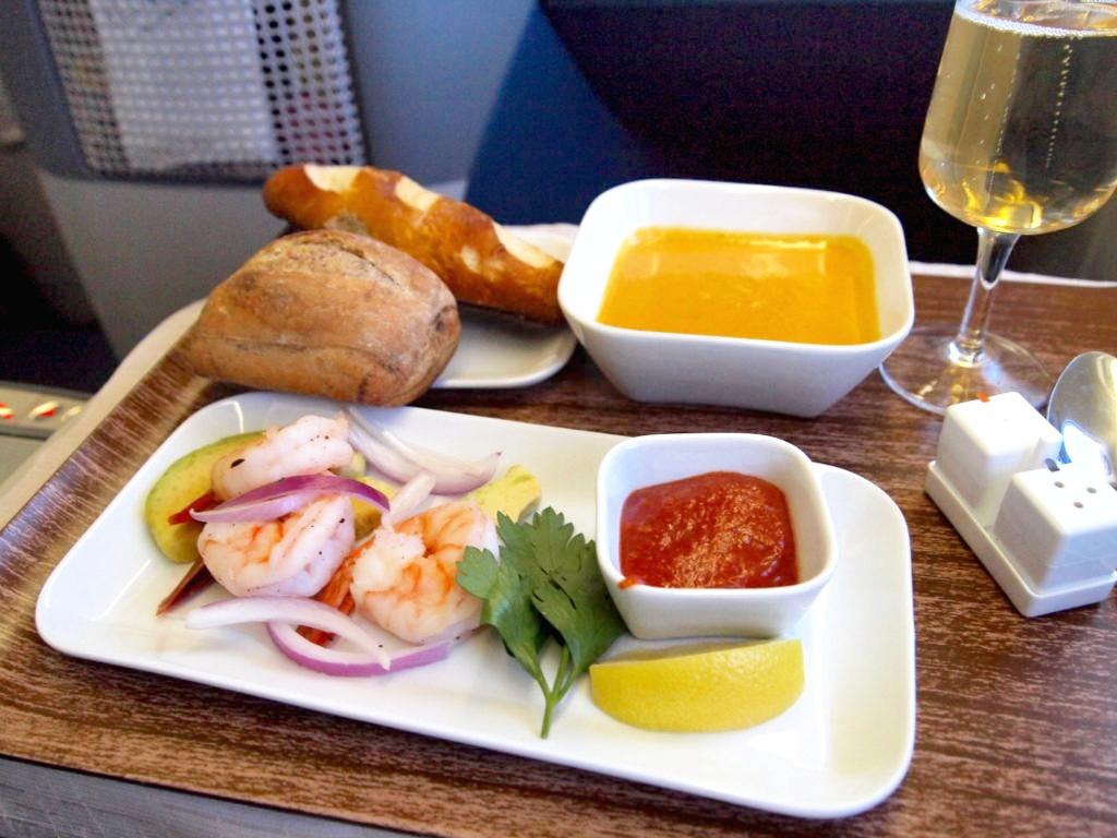 デルタ航空ビジネスクラスの食事コース 前菜